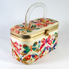 Vintage Lucite Leather Butterfly Embroidered Box Purse 1950s