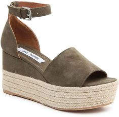 he Apolo from Steve Madden is perfect for maintaining a trendy wardrobe. These platform sandals feature a partial espadrille wedge, a chic ankle strap, and a revealing open toe that shows off your fresh pedi! #sandals #espadrille #wedges #shoes #stevemadden #platformshoes #affiliate