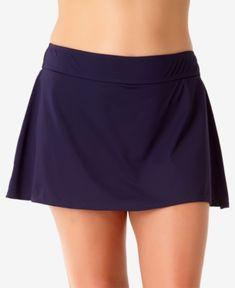Anne Cole Women's Live In Colour Classic Swim Skirt - Navy - Size Swim Skirt, Swim Dress, Plus Size Skirts, Plus Size Outfits, Anne Cole Swimwear, Womens Tankini, Swim Bottoms, Plus Size Swimwear