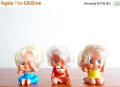 """3 dolls / figurines : """" The three wise monkeys """" made in Taiwan, vintage """"No Evil Hear No Evil Speak No Evil"""" one doll : cm = in Great vintage condition Three Wise Monkeys, See No Evil, Taiwan, Third, Dolls, Disney Princess, Disney Characters, 1970s, Cute"""