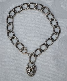Victorian Sterling Silver Love Token Pad Lock Bracelet with High Relief Detail #Chain