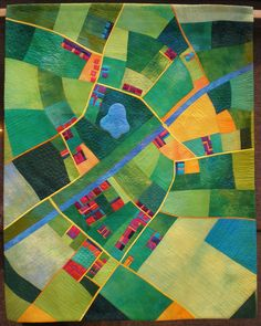 Canal Country map art quilt by Alicia Merrett Landscape Quilts, Landscape Art, Impression Textile, Map Quilt, Quilt Modernen, Contemporary Quilts, Illustration, Motif Floral, Map Design