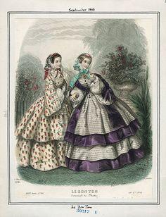 1858 sept Le Bon Ton...Nice idea for skirt variation when I'm running short on fabric!