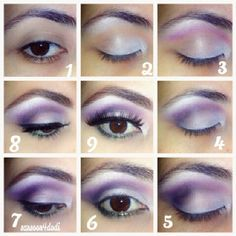Purple lilac makeup for brown eyes tutorial