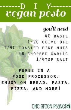 Pesto is a divine taste that adds a burst of flavor to pizza, pasta, salad, sandwiches and more. It's so easy to create pesto without cheese! How to Make Pesto Without Cheese (It's Easy! Dairy Free Recipes, Vegan Recipes Easy, Whole Food Recipes, Vegetarian Recipes, Quick Recipes, Soup Recipes, Dairy Free Pesto, Chicken Recipes, Family Recipes