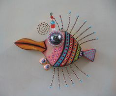 Penguin Fish, Original Found Object Wall Art, Wood Carving, by Fig Jam Studio