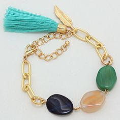 Agate Drake Tassel Bracelet in Tri Tone