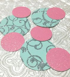 Mint, silver, pink glitter confetti circles for wedding bridal shower anniversary birthday party baby shower invitations table decoration Disney princess party decor Cinderella engagement bachelorette quniceanera sweet sixteen Candy land Winter wonderland Christening Baptism gender reveal onederland