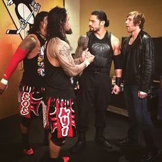 The Usos Dean Ambrose and Roman Reigns