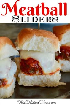Italian Meatball Sliders are easy and delicious! Great party food or appetizer, that would also be a fun weeknight dinner. #meatballsliders #minimeatballsandwich Barbecue Recipes, Grilling Recipes, Beef Recipes, Brunch Recipes, Appetizer Recipes, Party Recipes, Sandwich Recipes, Easy Italian Meatballs