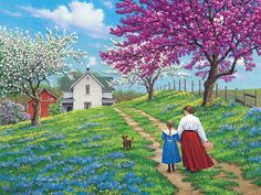 """""""Along the Way"""" - painting by John Sloane Watercolor Landscape, Landscape Paintings, Colorful Drawings, Art Drawings, Arte Country, Farm Art, Art Pictures, Photos, Amazing Paintings"""