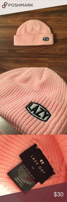 Lazy Oaf Pink Beanie only worn to try on, took off the tags a while ago cause i genuinely thought i'd wear it. bright pink color. sold out everywhere. no stains, amazing condition. Lazy Oaf Accessories Hats