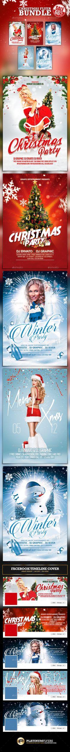 Christmas Party Flyer Bundle / Winter Party - Print Templates