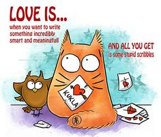 LOVE Writing cats Love is  Greeting card    by PookieCatsWorld