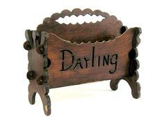 Reserved Folk Art Magazine Rack Hand Made Darling Wood Vintage Sweetheart…
