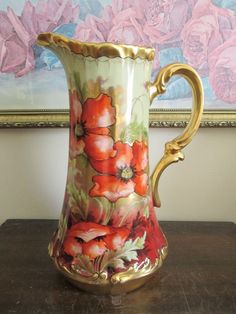"""Limoges France Hand Painted Poppies Tankard Pitcher Signed Leon 11"""" #Limoges"""