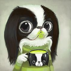 Japanese Chin Sips Matcha Green Tea - 8x8 Print by Melanie Schultz
