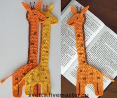 Crochet some giraffe bookmarks Crochet Bookmark Pattern, Crochet Bookmarks, Crochet Books, Crochet Home, Crochet Gifts, Cute Crochet, Crochet Motif, Crochet Designs, Crochet Yarn