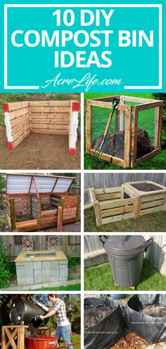 10 DIY Compost Bin Ideas for any skill level. 10 DIY compost bin ideas ranging from no building required to intermediate building skills required. Find the compost bin that fits your needs and skills. Build Compost Bin, Outdoor Compost Bin, Wooden Compost Bin, Making A Compost Bin, How To Make Compost, Garden Compost, Best Compost Bin, Herbs Garden, Compost