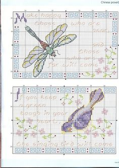 Dragonfly & sparrow - chinese proverbs cross stitch patterns