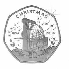 Isle of Man 2004 - Christmas 50p Coin Laxey Wheel - Cupro Nickel Diamond Finished