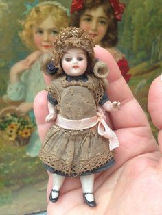 All Original All Bisque Dolls House Doll with Glass Eyes. Antique Dolls, Vintage Dolls, Bisque Doll, Doll Toys, Flower Girl Dresses, Miniatures, Eyes, The Originals, Antiques
