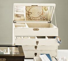 Beautiful Vintage inspired ivory jewelry box from Pottery Barn