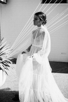 soft tulle gown with high neckline, billowing bishop sleeve and buttoned cuff. CURATED by AMÉLIE GEORGE BRIDAL - Modern Wedding Jewelry - Freshwater Pearl Earrings and Hairpins. Country Wedding Dresses, Wedding Dress Trends, Princess Wedding Dresses, Best Wedding Dresses, Boho Wedding Dress, Bridal Dresses, Red Wedding, Summer Wedding, Cinderella Wedding
