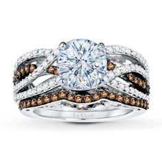 Beautiful Chocolate And White Diamond Levian Ring Shazb