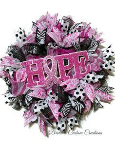 Made to Order Hope Awareness Mesh WreathFront Door WreathBurlapBreast CancerOctober PinkPink RibbonCancer Survivor GiftPink Wreath