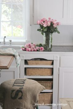 Drawers removed- baskets in their place  http://frenchcountrycottage.blogspot.com/2012/04/french-cottage-kitchen.html