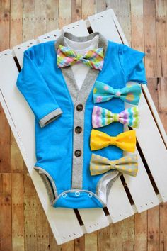 Spring Easter Cardigan Onesie: Turquoise with Gray Trim with Interchangeable Tie Shirt and Bow Tie on Etsy, Baby Boys, Baby Boy Fashion, Kids Fashion, Baby Boy Outfits, Kids Outfits, Baby Boy Cardigan, Easter Outfit, Future Baby, Swagg