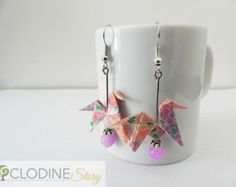 Pink and purple flowers, origami horse with  small glass beads