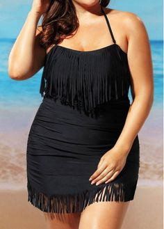 Ruched Halter Neck Tassel Embellished Black Swimwear Set