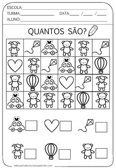 Atividade pronta - Quantidade Math Literacy, Kindergarten Worksheets, Worksheets For Kids, Preschool Activities, Counting Activities, Math For Kids, Toddler Learning, Teaching, Education