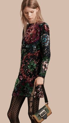 Navy Hand-Embroidered Sequin Shift Dress - Image 1