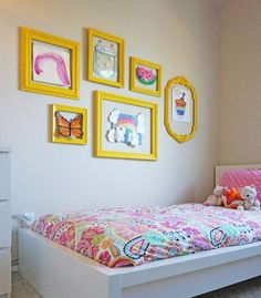 Use the kids artwork as fun decor in your home with any of these gorgeous and simple ideas. Display the art and craft your children bring home from day care or pre-school. - Organised Pretty Home Bedroom Wall, Girls Bedroom, Bedroom Decor, Diy Wall Decor For Bedroom Easy, Bedroom Ideas, Girls Room Wall Decor, Kid Bedrooms, Displaying Kids Artwork, Ideas Hogar