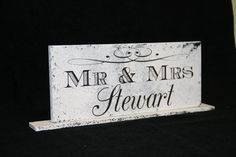 Mr and Mrs Table Sign for Head Wedding by Route17WestWeddings