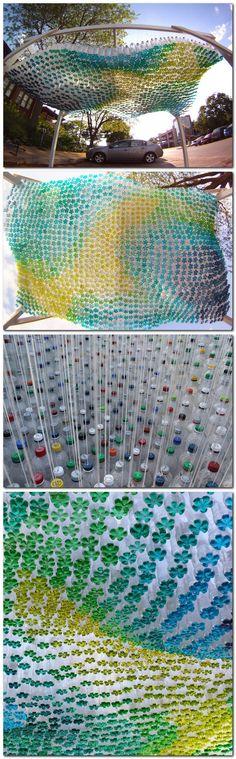 (POP)culture recycled soda bottles installation by Garth Britzman