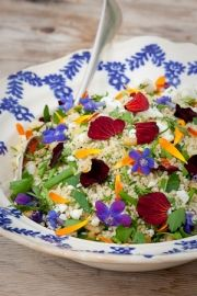 Edible flower salad with couscous. Too pretty to eat?