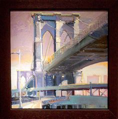 Francis Livingston (American 1953-). Brooklyn Bridge, Oil On Panel, 24x24. arcadiafinearts