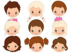 Kids Faces Clipart Digital Vector Girl Boy Child Children Face Kids Faces Clip Art for Personal and Commercial Us Happy Cartoon, Cartoon Faces, Cartoon Kids, Mermaid Clipart, Girl Clipart, Boy Face, Child Face, Felt Dolls, Paper Dolls