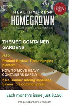Get the May issue of the Healthy Fresh Homegrown Magazine, the magazine for families growing food at home. Filled with useful tips for container gardening! Balcony Gardening, Gardening Books, Container Gardening, Planting Vegetables, Growing Vegetables, Vegetable Garden, Fresh Tomato Soup, Railing Planters, Backyard Layout