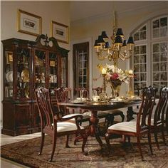 Cherry Queen Anne Dining Chairs featuring bow front seat with floral ...