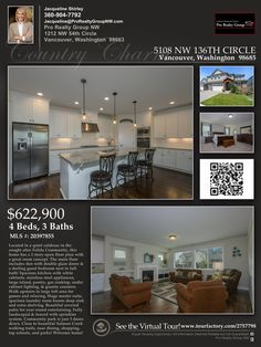 Just Listed! Real Estate for Sale: $622,900-4 Bd/3 Ba Charming Two Story Herzog Farms Craftsman Style Home on Large .18 Acre Cul-de-sac Lot at: 5108 NW 136th Cir, Vancouver, Clark County, WA! Area 41. Listing Agent: Jacqueline Shirley (360) 904-7792, Pro Realty Group NW, Vancouver, WA! #JustListed #RealEstate #VancouverRealEstate #HerzogFarmsRealEstate #ExceptionalRealEstate #FelidaRealEstate #FourBedroom #ThreeCarGarage #CulDeSac #SkyviewHighSchool #JacquelineShirley #ProRealtyGroupNW