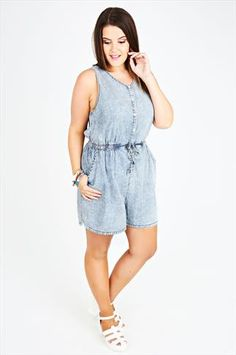 Fashion Bug Plus Size Womens Acid Wash Denim Look Playsuit With Popper Fastening www. Trendy Plus Size Clothing, Plus Size Dresses, Plus Size Outfits, Plus Size Fashion, Curves Clothing, S Curves, Stretch Dress, Playsuit, Latest Fashion Trends