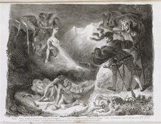 """Eugène Delacroix, suite Lithographique de """"Faust"""" de Goethe : L'ombre de Marguerite apparaissant à Faust, 1828, lithographie, Paris, Musée Delacroix"""