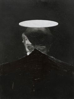 This is by Nicola Samori and his other works look equally intriguing. For me, it is a commentary on human existence, its fragility and imperfection. In particular, take note of the use of light and darkness, covering and peeling, and that all of it is centered around a person. His exhibition as a whole is motivated by a Heideggarian approach to art.
