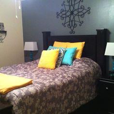 Gray,yellow,teal bedroom