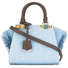 Fendi Mini 3 Jour Studded Denim Bag (32.523.735 IDR) ❤ liked on Polyvore featuring bags, handbags, shoulder bags, denim daze, kirna zabete, kzloves /, shoulder strap handbags, fendi shoulder bag, shoulder strap bags and fringe purse